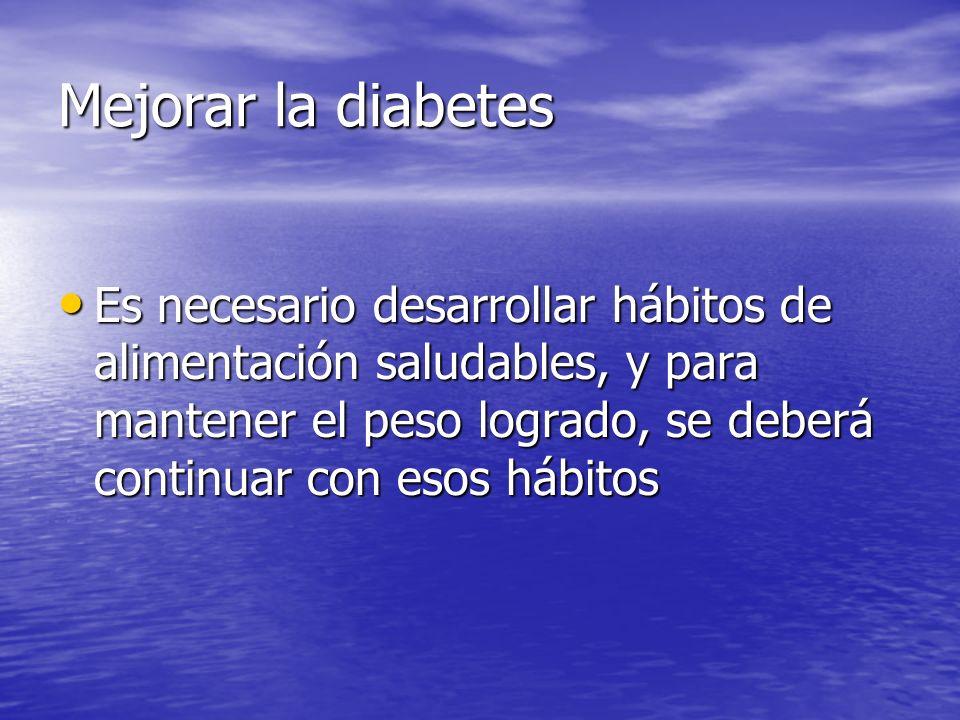 Beneficios de la alimentación Ayuda a mantener los niveles de glucosa Ayuda a mantener los niveles de glucosa Ayuda a vivir una vida más larga Ayuda a vivir una vida más larga La fibra de los alimentos facilita la excreción de la glucosa, reduciendo la misma en sangre La fibra de los alimentos facilita la excreción de la glucosa, reduciendo la misma en sangre Nos ayudará a prevenir otras enfermedades, asociadas a la diabetes Nos ayudará a prevenir otras enfermedades, asociadas a la diabetes