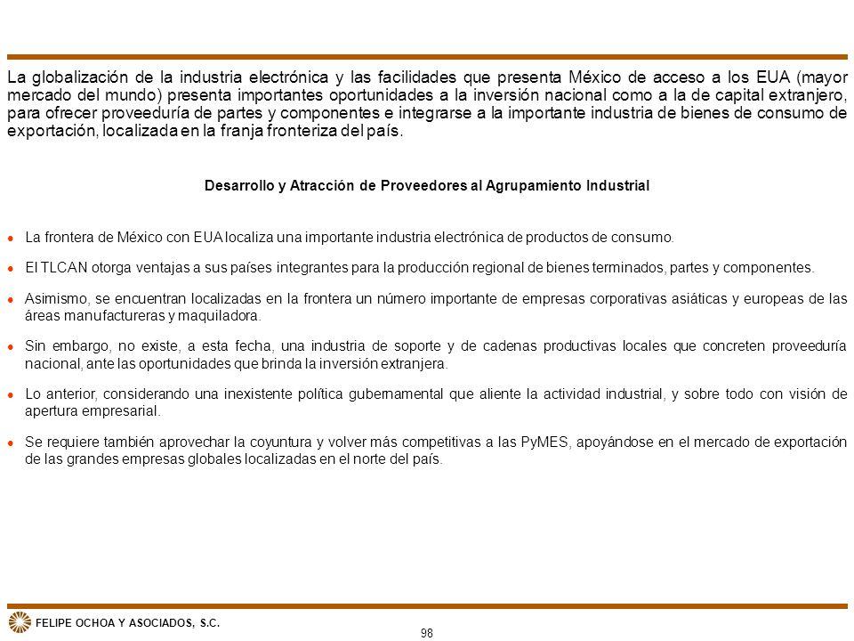 FELIPE OCHOA Y ASOCIADOS, S.C. Desarrollo y Atracción de Proveedores al Agrupamiento Industrial l La frontera de México con EUA localiza una important