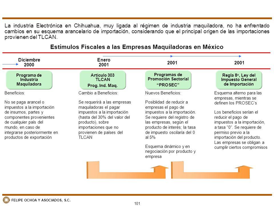 FELIPE OCHOA Y ASOCIADOS, S.C. Estímulos Fiscales a las Empresas Maquiladoras en México La industria Electrónica en Chihuahua, muy ligada al régimen d