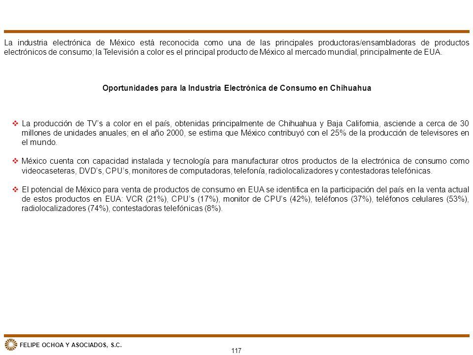 FELIPE OCHOA Y ASOCIADOS, S.C. Oportunidades para la Industria Electrónica de Consumo en Chihuahua La industria electrónica de México está reconocida