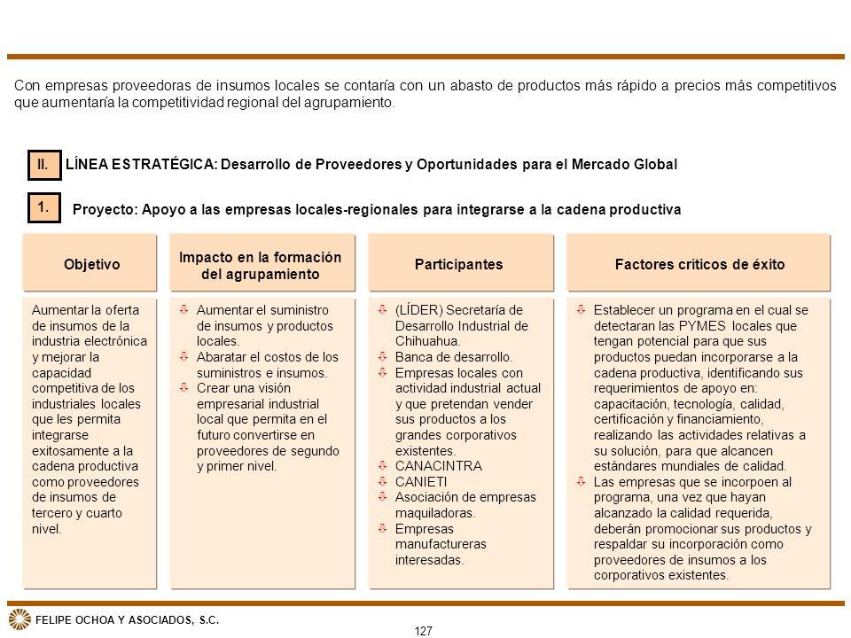 FELIPE OCHOA Y ASOCIADOS, S.C. Aumentar la oferta de insumos de la industria electrónica y mejorar la capacidad competitiva de los industriales locale