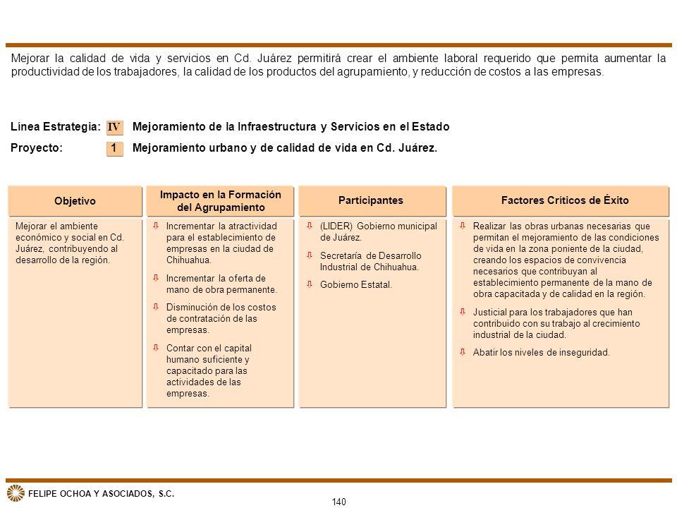 FELIPE OCHOA Y ASOCIADOS, S.C. 140 Objetivo Impacto en la Formación del Agrupamiento ParticipantesFactores Críticos de Éxito Mejoramiento de la Infrae