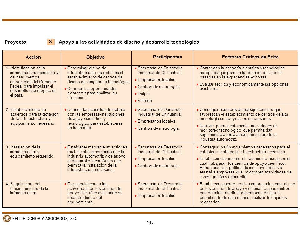 FELIPE OCHOA Y ASOCIADOS, S.C. 145 3 Proyecto: Acción Objetivo ParticipantesFactores Críticos de Éxito Apoyo a las actividades de diseño y desarrollo