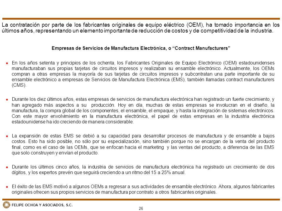 FELIPE OCHOA Y ASOCIADOS, S.C. Empresas de Servicios de Manufactura Electrónica, o Contract Manufacturers l En los años setenta y principios de los oc