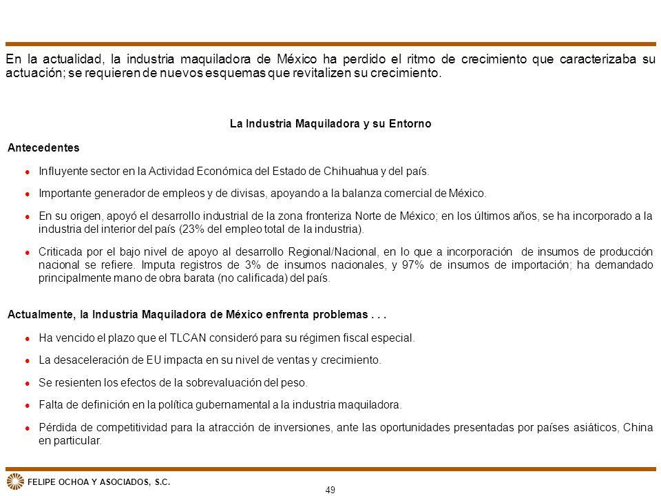 FELIPE OCHOA Y ASOCIADOS, S.C. 49 La Industria Maquiladora y su Entorno l Influyente sector en la Actividad Económica del Estado de Chihuahua y del pa