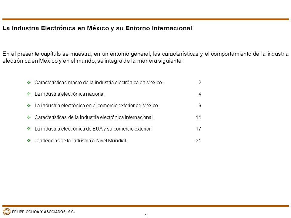FELIPE OCHOA Y ASOCIADOS, S.C. La Industria Electrónica en México y su Entorno Internacional En el presente capítulo se muestra, en un entorno general