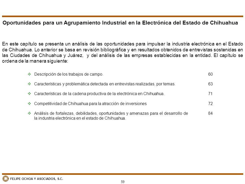 FELIPE OCHOA Y ASOCIADOS, S.C. Oportunidades para un Agrupamiento Industrial en la Electrónica del Estado de Chihuahua En este capítulo se presenta un