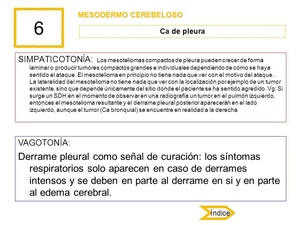 6 SIMPATICOTONÍA: Los mesoteliomas compactos de pleura pueden crecer de forma laminar o producir tumores compactos grandes e individuales dependiendo