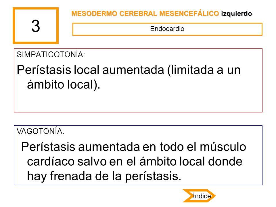 3 SIMPATICOTONÍA: Perístasis local aumentada (limitada a un ámbito local). VAGOTONÍA: Perístasis aumentada en todo el músculo cardíaco salvo en el ámb