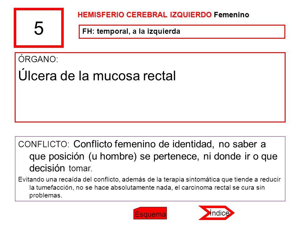5 ÓRGANO: Úlcera de la mucosa rectal CONFLICTO: Conflicto femenino de identidad, no saber a que posición (u hombre) se pertenece, ni donde ir o que de
