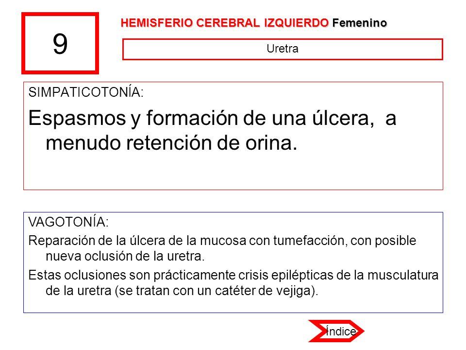 9 SIMPATICOTONÍA: Espasmos y formación de una úlcera, a menudo retención de orina. VAGOTONÍA: Reparación de la úlcera de la mucosa con tumefacción, co