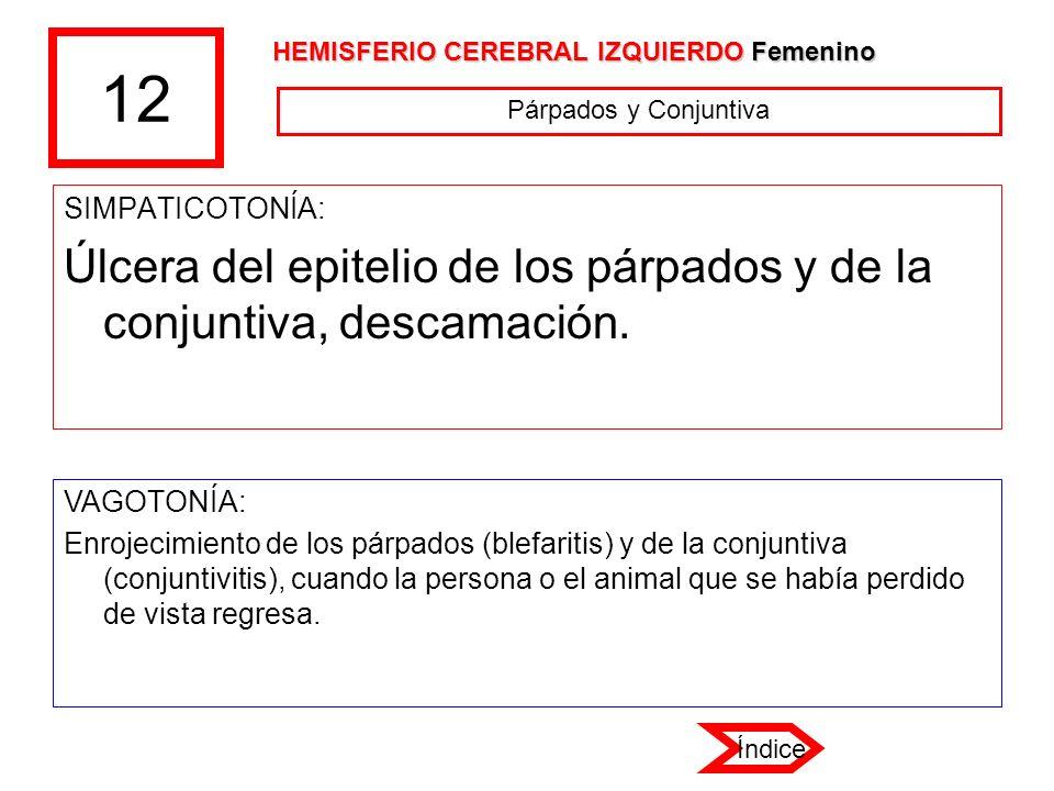 12 SIMPATICOTONÍA: Úlcera del epitelio de los párpados y de la conjuntiva, descamación. VAGOTONÍA: Enrojecimiento de los párpados (blefaritis) y de la