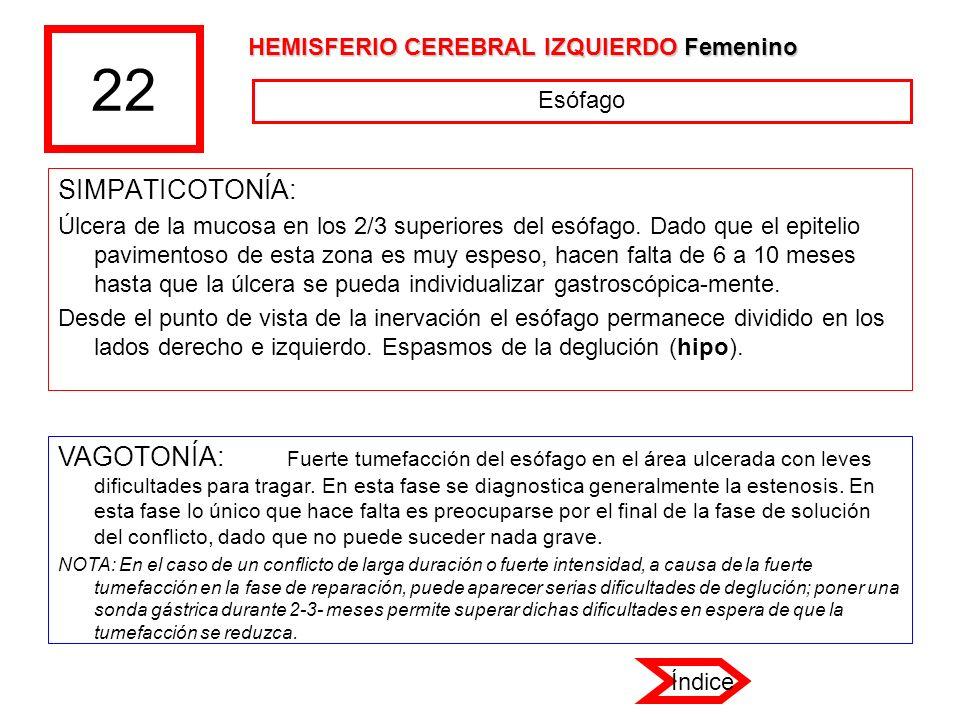 22 SIMPATICOTONÍA: Úlcera de la mucosa en los 2/3 superiores del esófago. Dado que el epitelio pavimentoso de esta zona es muy espeso, hacen falta de