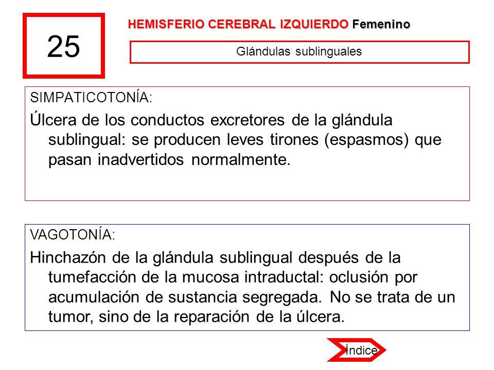 25 SIMPATICOTONÍA: Úlcera de los conductos excretores de la glándula sublingual: se producen leves tirones (espasmos) que pasan inadvertidos normalmen
