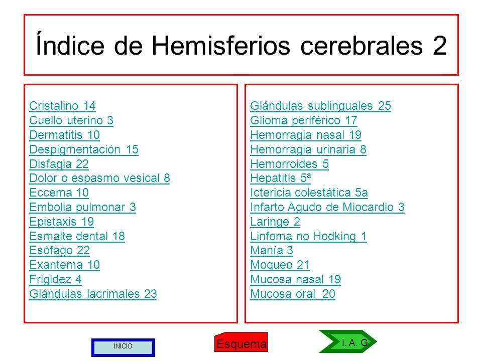 Índice de Hemisferios cerebrales 2 Cristalino 14 Cuello uterino 3 Dermatitis 10 Despigmentación 15 Disfagia 22 Dolor o espasmo vesical 8 Eccema 10 Emb