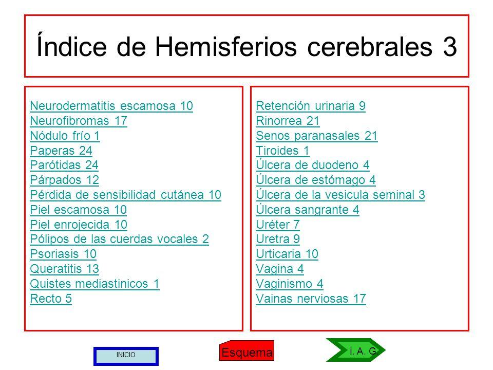 Índice de Hemisferios cerebrales 3 Neurodermatitis escamosa 10 Neurofibromas 17 Nódulo frío 1 Paperas 24 Parótidas 24 Párpados 12 Pérdida de sensibili