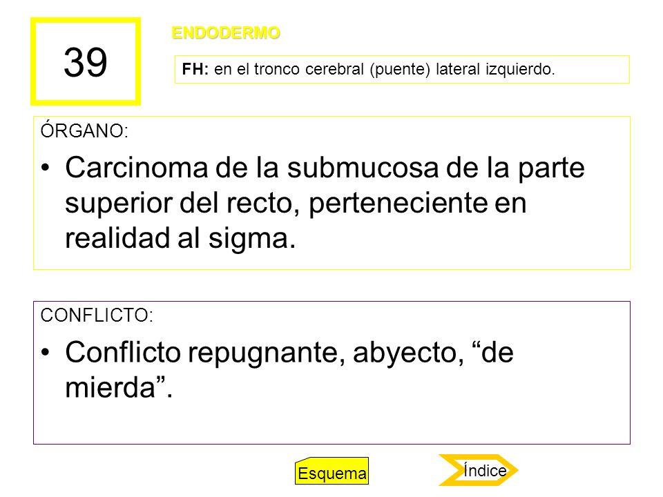 39 ÓRGANO: Carcinoma de la submucosa de la parte superior del recto, perteneciente en realidad al sigma. CONFLICTO: Conflicto repugnante, abyecto, de