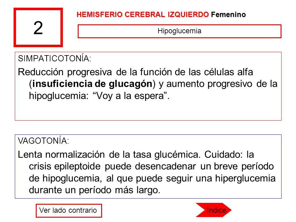 2 SIMPATICOTONÍA: Reducción progresiva de la función de las células alfa (insuficiencia de glucagón) y aumento progresivo de la hipoglucemia: Voy a la