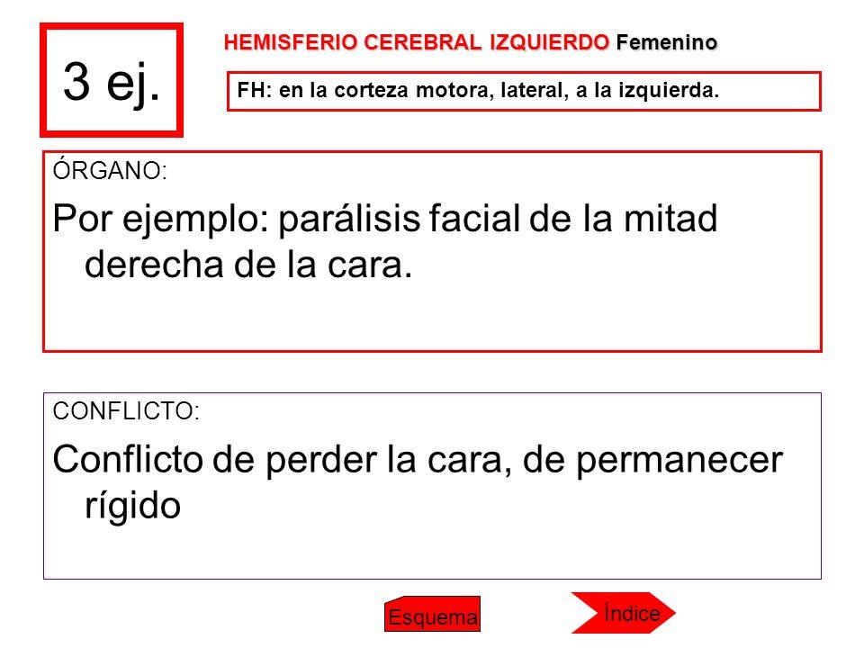 3 ej. ÓRGANO: Por ejemplo: parálisis facial de la mitad derecha de la cara. CONFLICTO: Conflicto de perder la cara, de permanecer rígido FH: en la cor