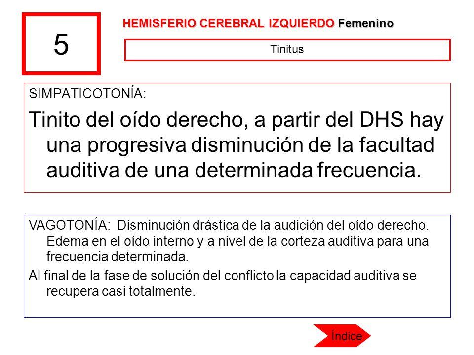 5 SIMPATICOTONÍA: Tinito del oído derecho, a partir del DHS hay una progresiva disminución de la facultad auditiva de una determinada frecuencia. VAGO