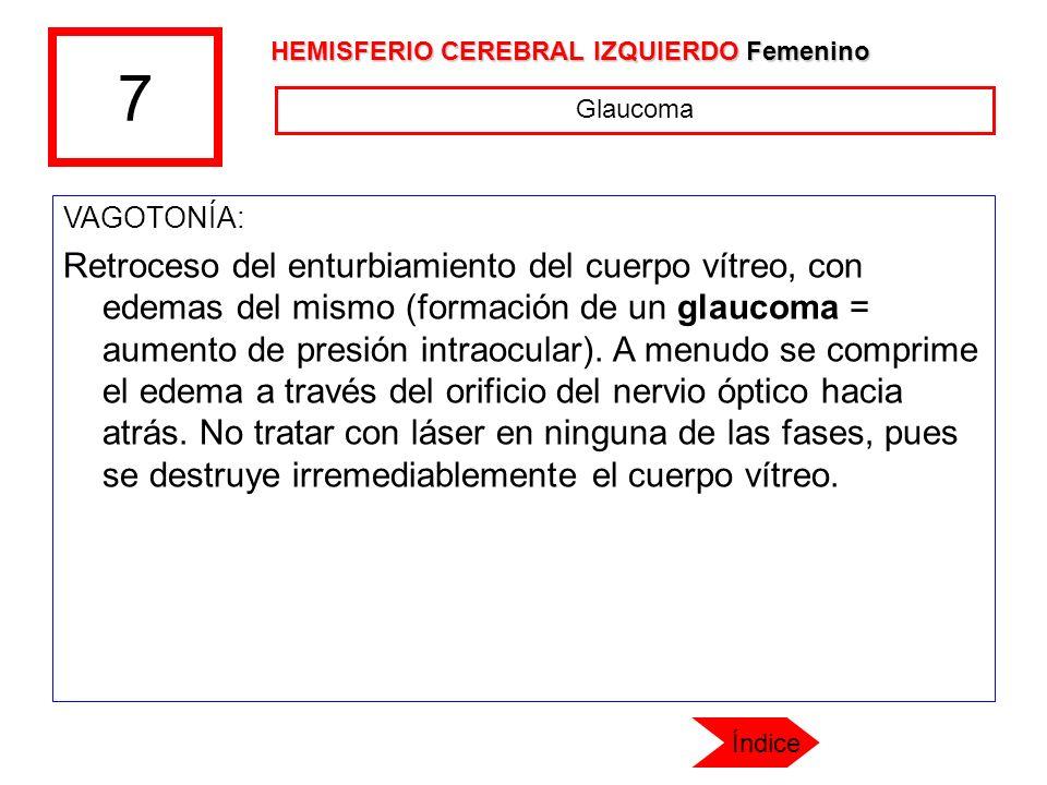 7 VAGOTONÍA: Retroceso del enturbiamiento del cuerpo vítreo, con edemas del mismo (formación de un glaucoma = aumento de presión intraocular). A menud