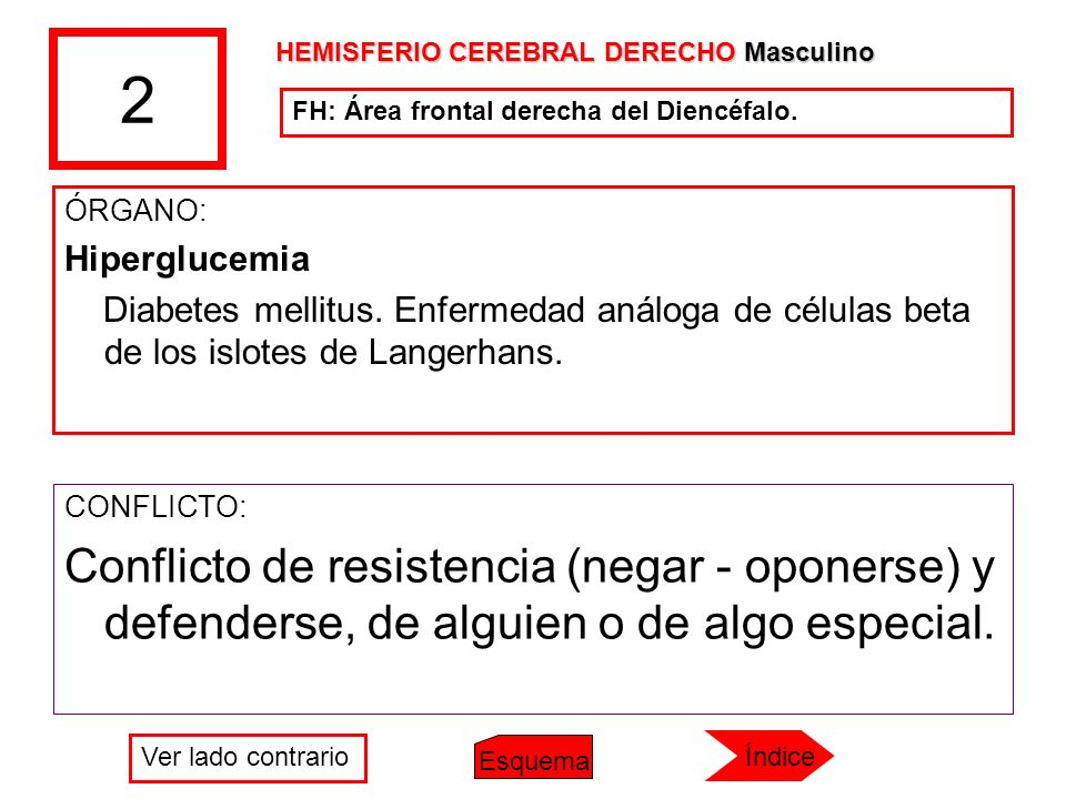 2 ÓRGANO: Hiperglucemia Diabetes mellitus. Enfermedad análoga de células beta de los islotes de Langerhans. CONFLICTO: Conflicto de resistencia (negar
