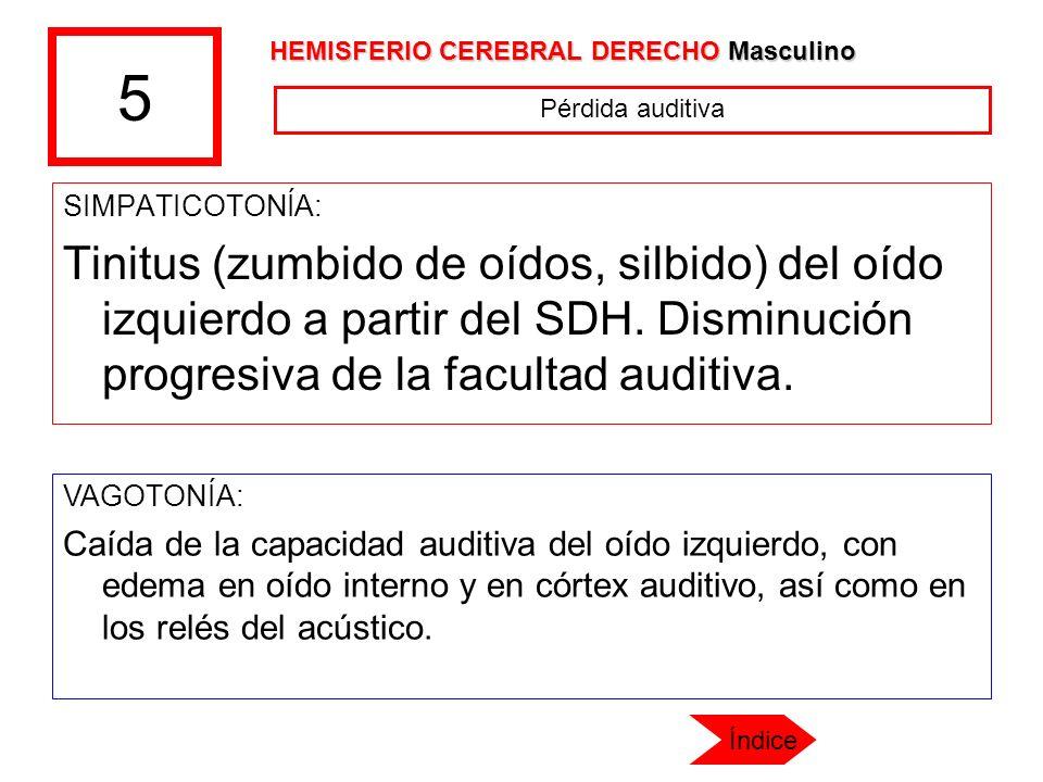 5 SIMPATICOTONÍA: Tinitus (zumbido de oídos, silbido) del oído izquierdo a partir del SDH. Disminución progresiva de la facultad auditiva. VAGOTONÍA: