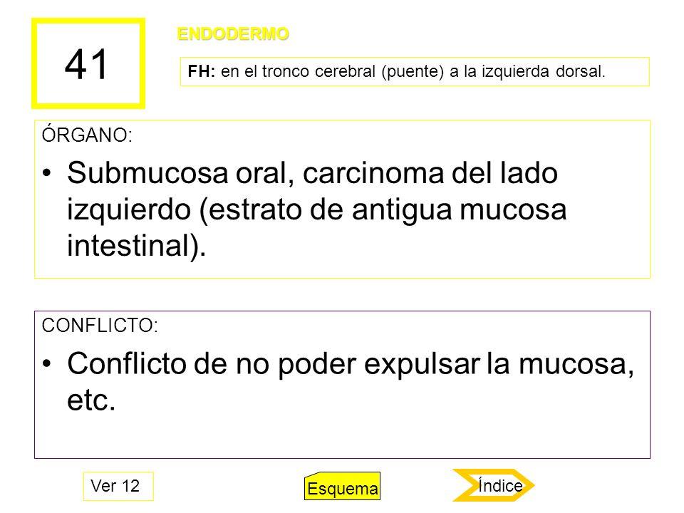 41 ÓRGANO: Submucosa oral, carcinoma del lado izquierdo (estrato de antigua mucosa intestinal). CONFLICTO: Conflicto de no poder expulsar la mucosa, e