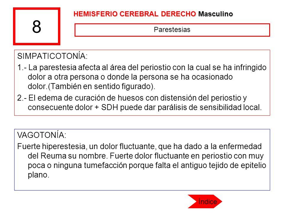 8 SIMPATICOTONÍA: 1.- La parestesia afecta al área del periostio con la cual se ha infringido dolor a otra persona o donde la persona se ha ocasionado
