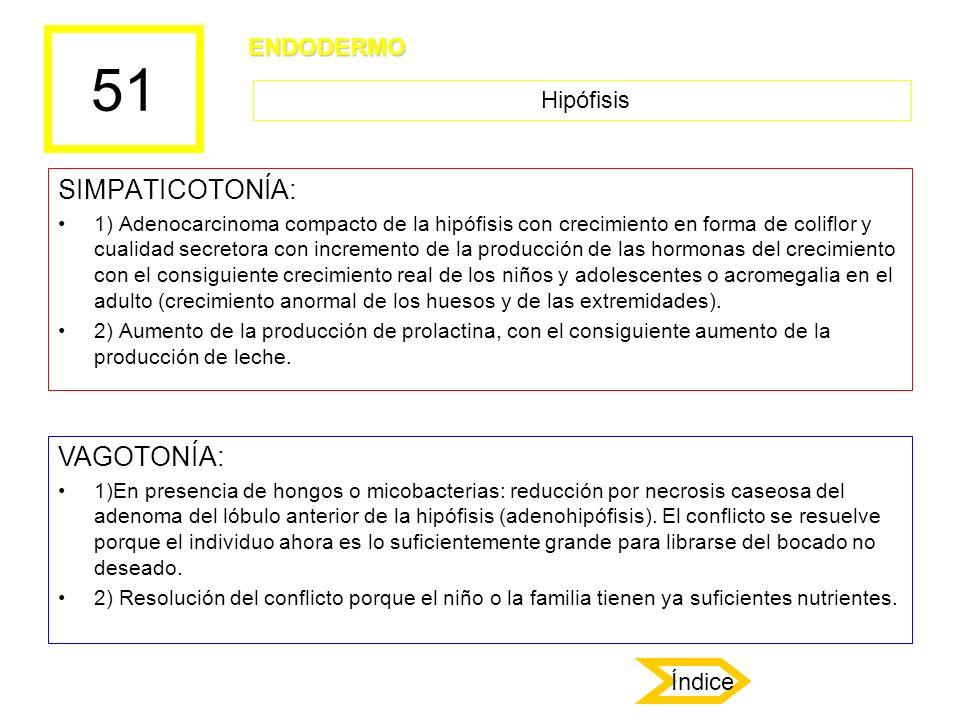 51 SIMPATICOTONÍA: 1) Adenocarcinoma compacto de la hipófisis con crecimiento en forma de coliflor y cualidad secretora con incremento de la producció