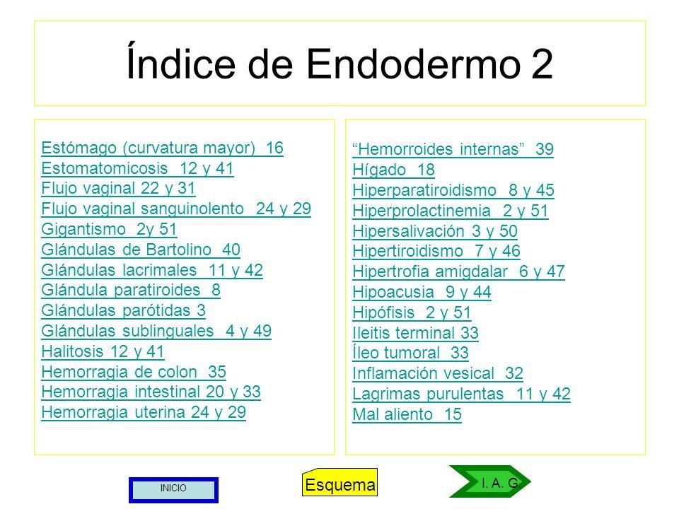 Índice de Endodermo 2 Estómago (curvatura mayor) 16 Estomatomicosis 12 y 41 Flujo vaginal 22 y 31 Flujo vaginal sanguinolento 24 y 29 Gigantismo 2y 51