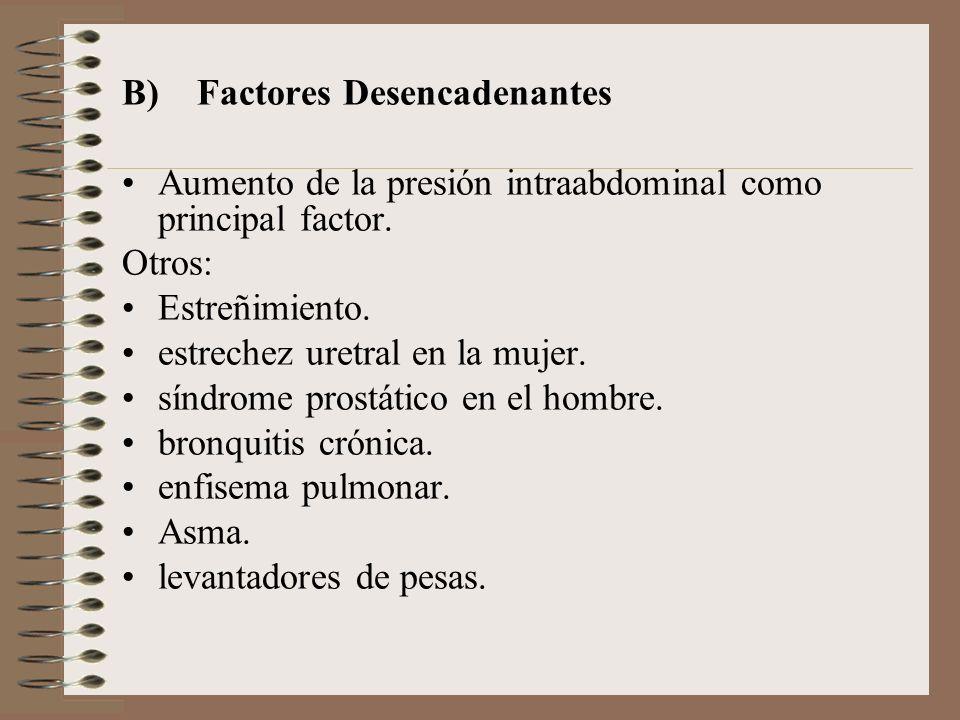 B) Factores Desencadenantes Aumento de la presión intraabdominal como principal factor.