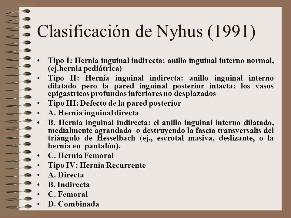 Clasificación de Nyhus (1991) Tipo I: Hernia inguinal indirecta: anillo inguinal interno normal, (ej.hernia pediátrica) Tipo II: Hernia inguinal indirecta: anillo inguinal interno dilatado pero la pared inguinal posterior intacta; los vasos epigastricos profundos inferiores no desplazados Tipo III: Defecto de la pared posterior A.