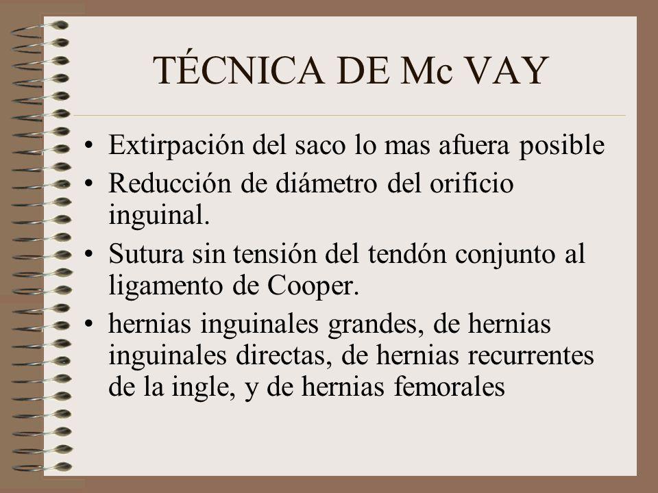 TÉCNICA DE Mc VAY Extirpación del saco lo mas afuera posible Reducción de diámetro del orificio inguinal.