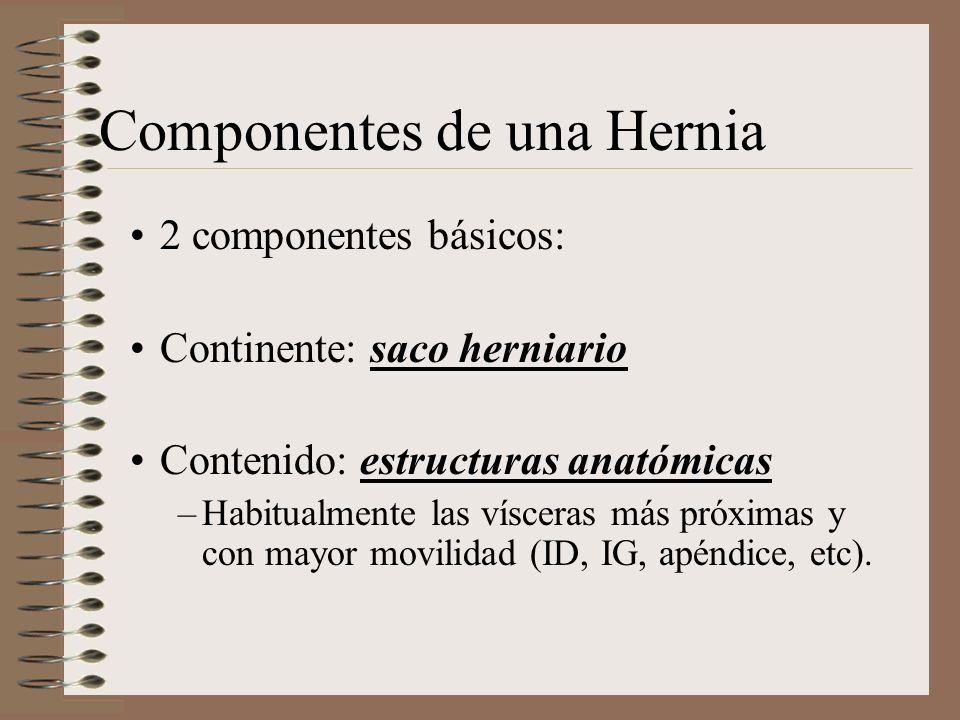 Componentes de una Hernia 2 componentes básicos: Continente: saco herniario Contenido: estructuras anatómicas –Habitualmente las vísceras más próximas y con mayor movilidad (ID, IG, apéndice, etc).