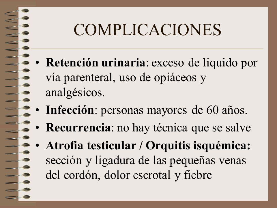 COMPLICACIONES Retención urinaria: exceso de liquido por vía parenteral, uso de opiáceos y analgésicos.