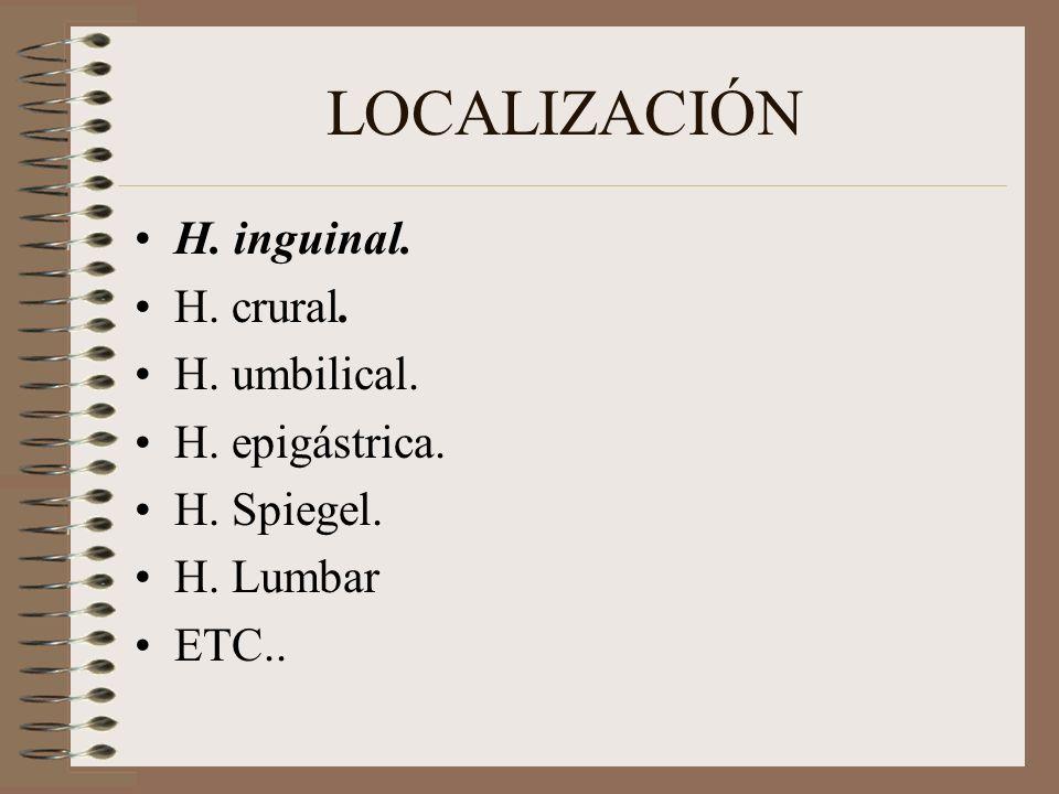 LOCALIZACIÓN H. inguinal. H. crural. H. umbilical. H. epigástrica. H. Spiegel. H. Lumbar ETC..