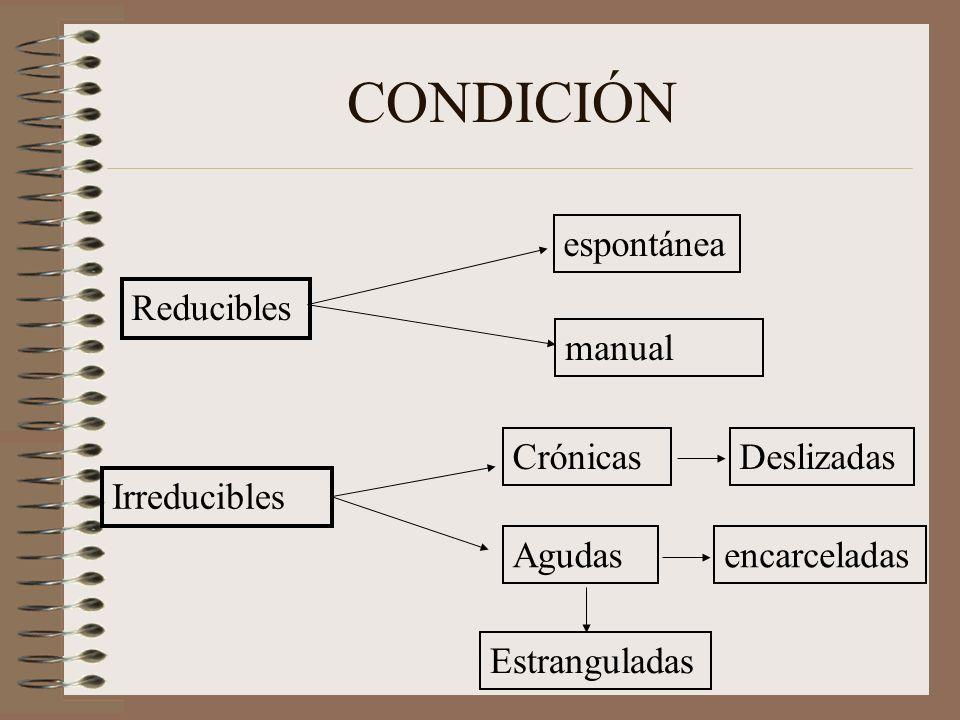 CONDICIÓN Reducibles Irreducibles espontánea manual Crónicas Agudasencarceladas Estranguladas Deslizadas