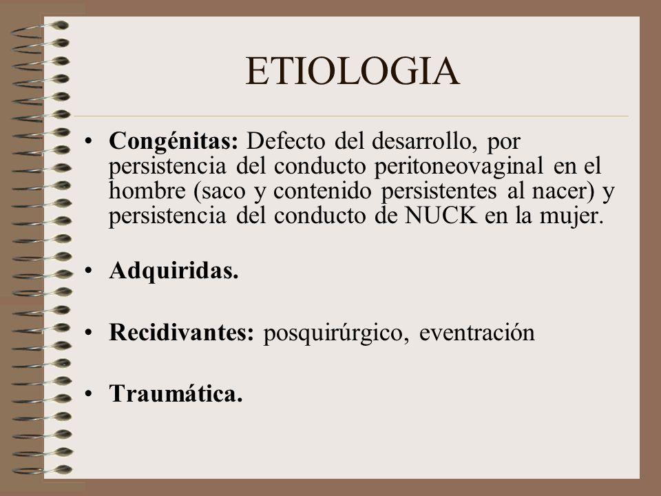 ETIOLOGIA Congénitas: Defecto del desarrollo, por persistencia del conducto peritoneovaginal en el hombre (saco y contenido persistentes al nacer) y persistencia del conducto de NUCK en la mujer.