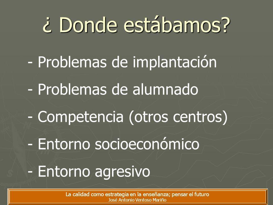 ¿ Donde estábamos? La calidad como estrategia en la enseñanza; pensar el futuro José Antonio Ventoso Mariño - Problemas de implantación - Problemas de