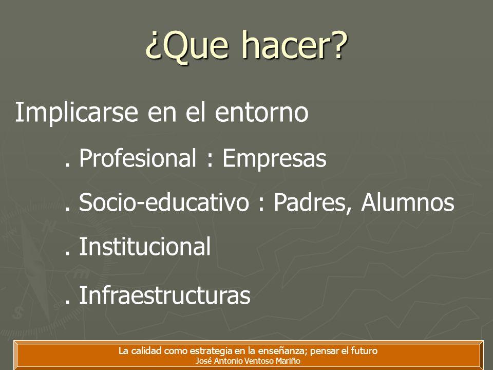 ¿Que hacer? La calidad como estrategia en la enseñanza; pensar el futuro José Antonio Ventoso Mariño Implicarse en el entorno. Profesional : Empresas.