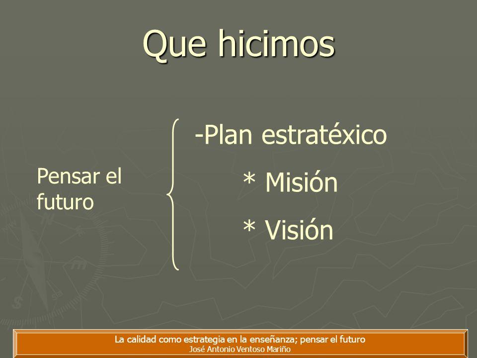 Que hicimos La calidad como estrategia en la enseñanza; pensar el futuro José Antonio Ventoso Mariño -Plan estratéxico * Misión * Visión Pensar el fut