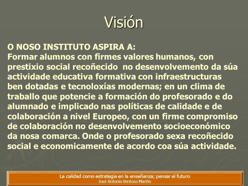 La calidad como estrategia en la enseñanza; pensar el futuro José Antonio Ventoso Mariño Visión O NOSO INSTITUTO ASPIRA A: Formar alumnos con firmes v
