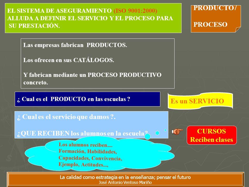 La calidad como estrategia en la enseñanza; pensar el futuro José Antonio Ventoso Mariño EL SISTEMA DE ASEGURAMIENTO (ISO 9001:2000) ALLUDA A DEFINIR