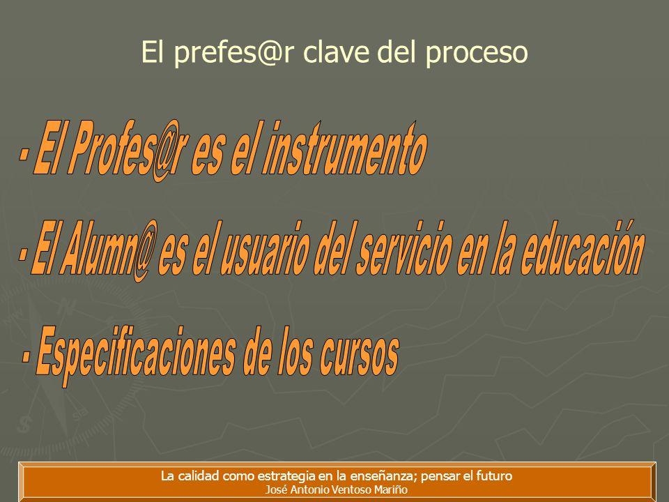 La calidad como estrategia en la enseñanza; pensar el futuro José Antonio Ventoso Mariño El prefes@r clave del proceso