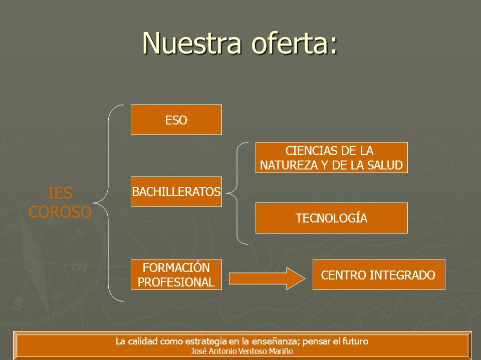 La calidad como estrategia en la enseñanza; pensar el futuro José Antonio Ventoso Mariño Nuestra oferta: IES COROSO ESO BACHILLERATOS FORMACIÓN PROFES