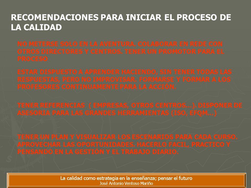 La calidad como estrategia en la enseñanza; pensar el futuro José Antonio Ventoso Mariño RECOMENDACIONES PARA INICIAR EL PROCESO DE LA CALIDAD NO METE