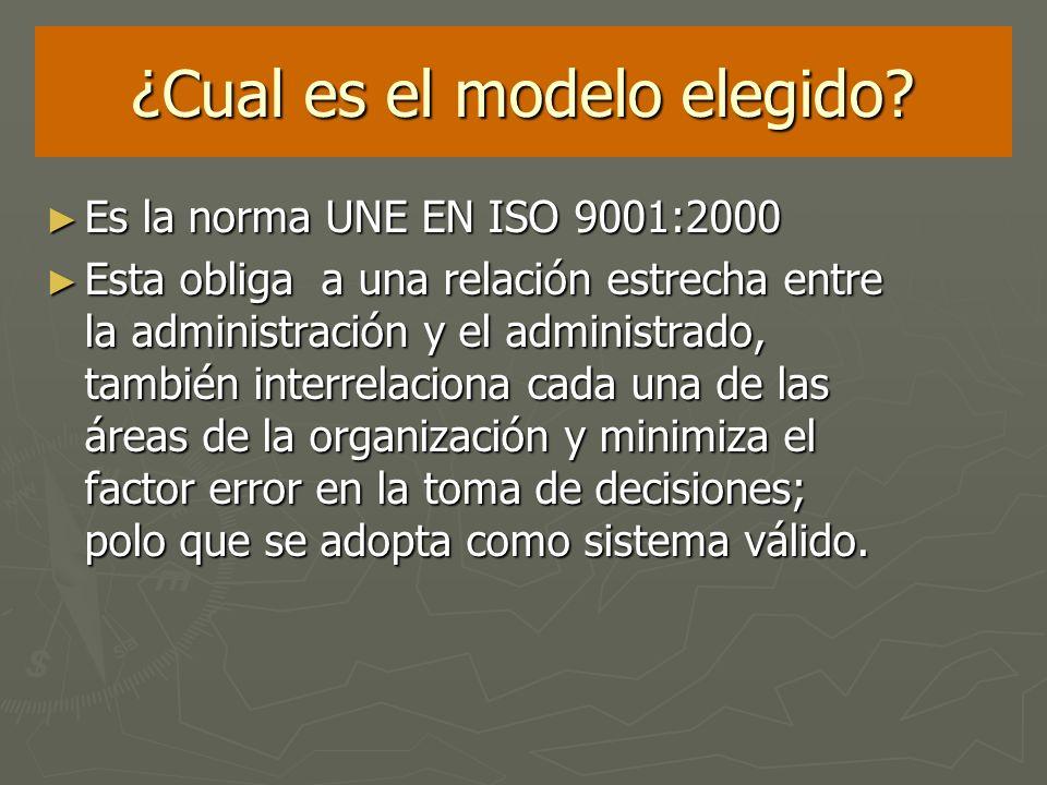 ¿Cual es el modelo elegido? Es la norma UNE EN ISO 9001:2000 Es la norma UNE EN ISO 9001:2000 Esta obliga a una relación estrecha entre la administrac