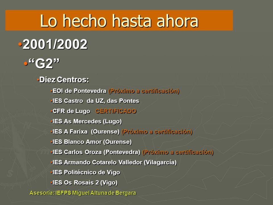 Lo hecho hasta ahora 2001/20022001/2002 G2G2 Diez Centros:Diez Centros: EOI de Pontevedra (Próximo a certificación)EOI de Pontevedra (Próximo a certif