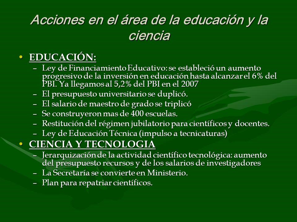 Acciones en el área de la educación y la ciencia EDUCACIÓN: EDUCACIÓN: –Ley de Financiamiento Educativo: se estableció un aumento progresivo de la inversión en educación hasta alcanzar el 6% del PBI.